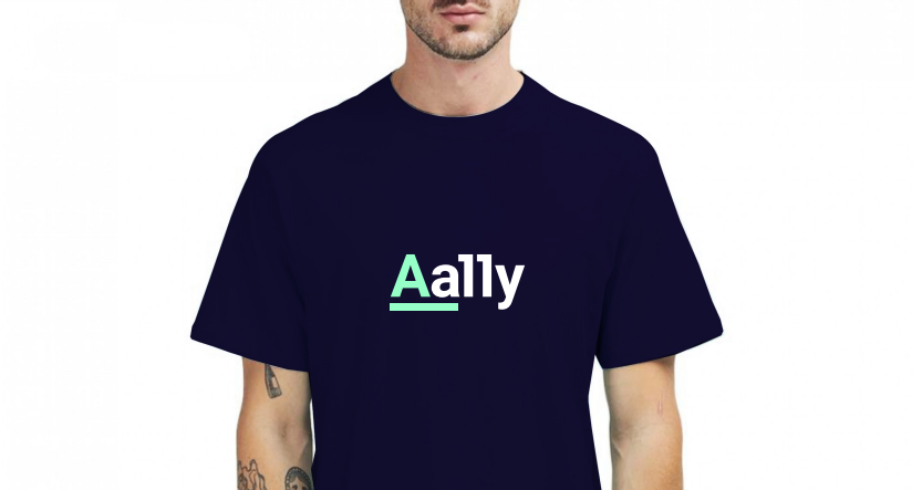 Aally logo on black t-shirt