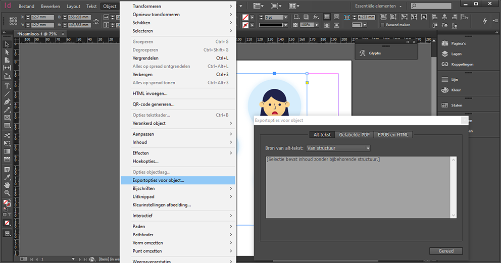 Screenshot of the path how to add Alt-Text to images in InDesign