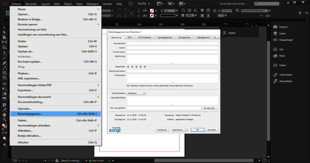 Screenshot of the path File Information in InDesign