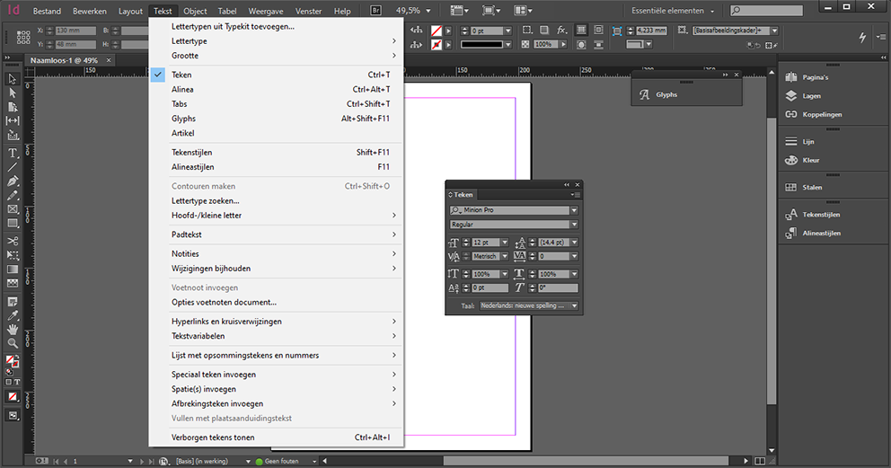 Screenshot of the path Language Settings in InDesign